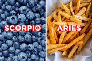 """On the left, a bunch of blueberries labeled """"Scorpio,"""" and on the right, a bunch of fries labeled """"Aries"""""""