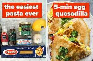 Tuna pasta and egg quesadilla