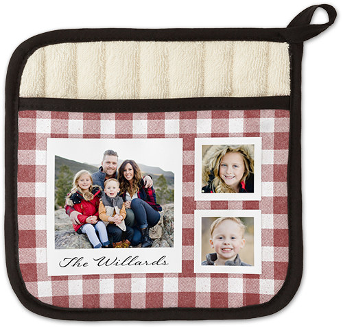 a red gingham oven mitt with three photos on it