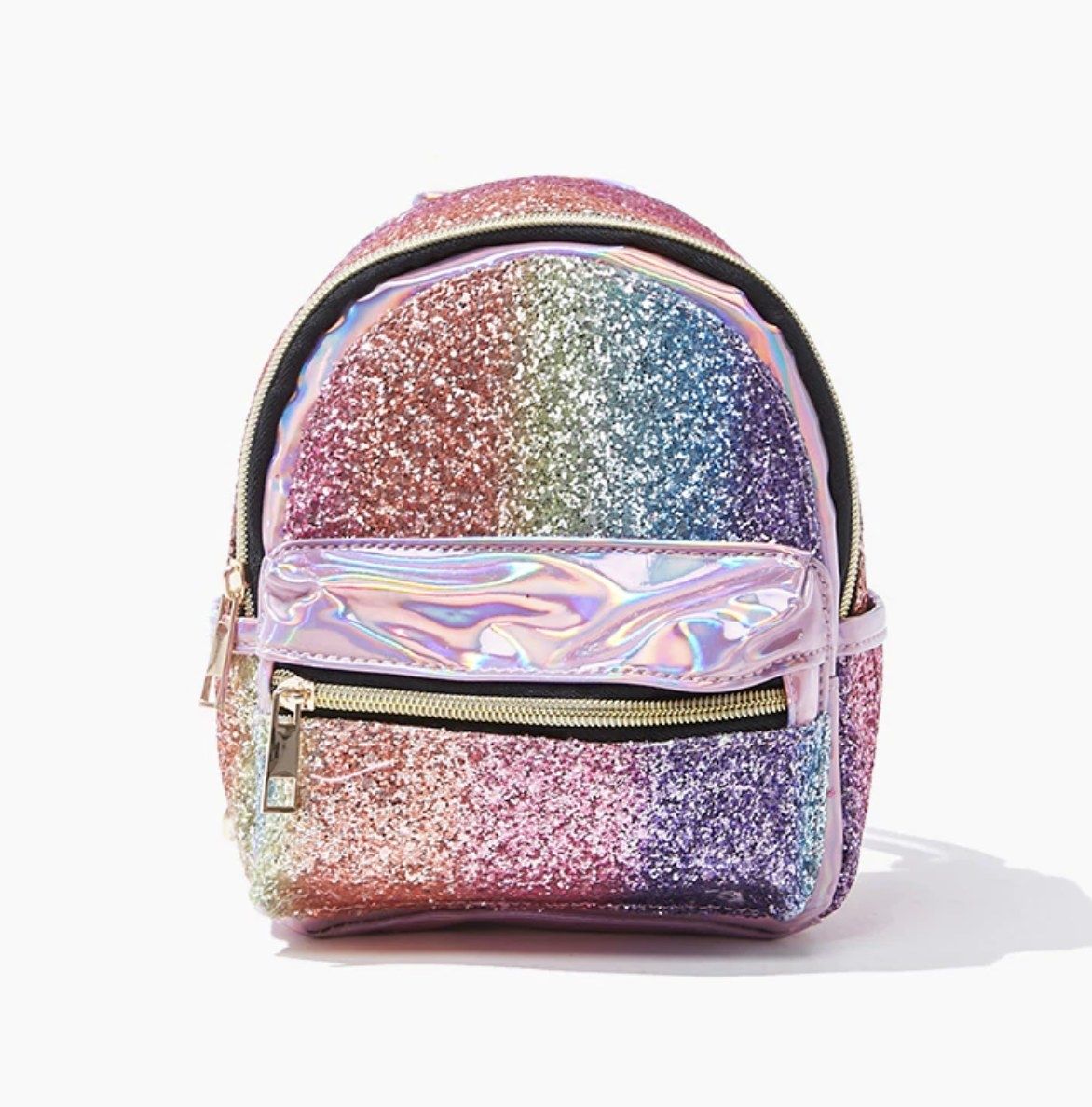 A metallic glitter bag