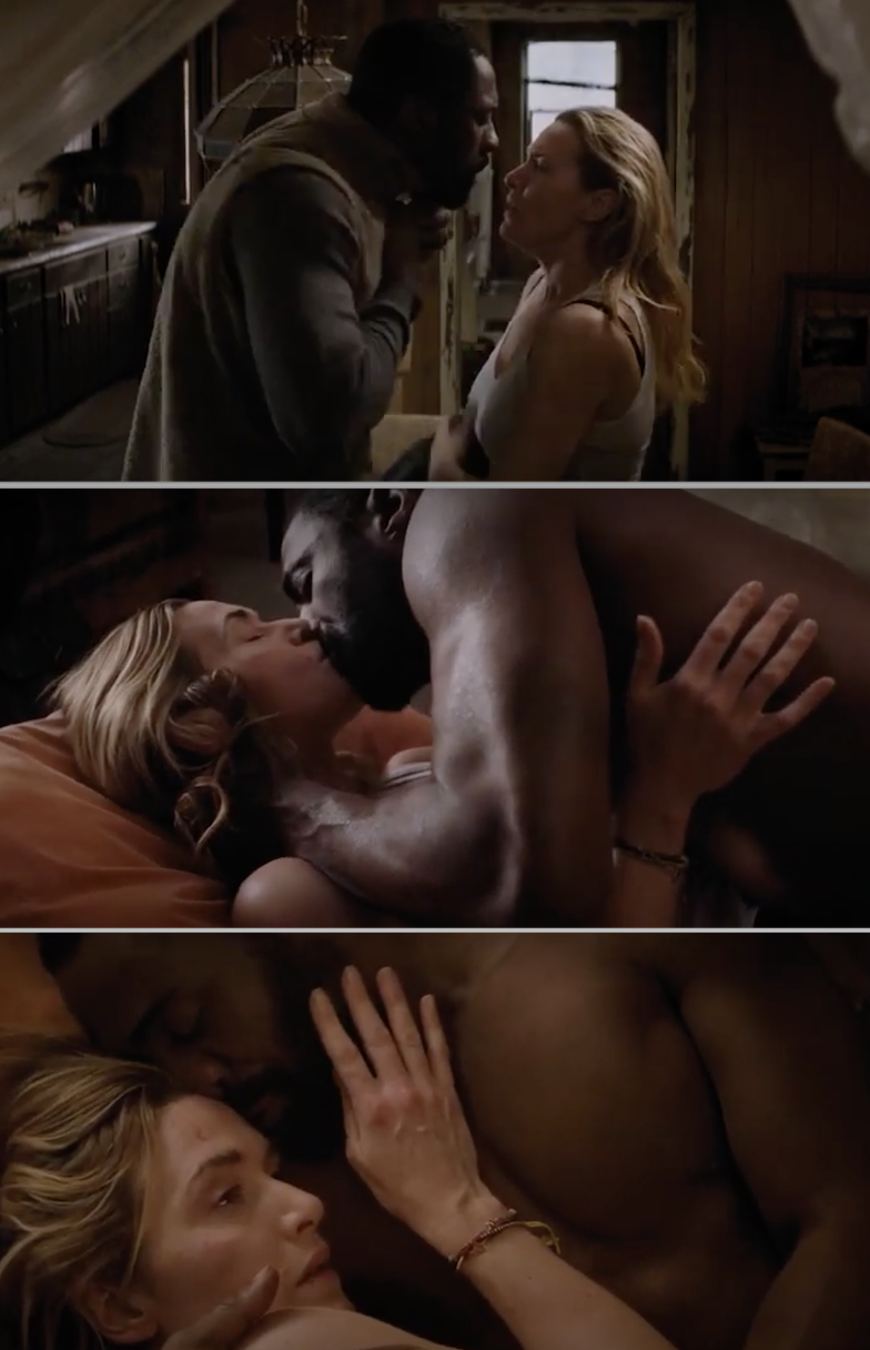 "Kate Winslet and Idris Elba passionately kissing on a bed in ""The Mountain Between Us"""