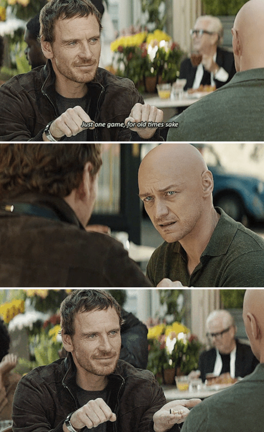 Magneto and Professor Charles Xavier sitting at an outdoor café together