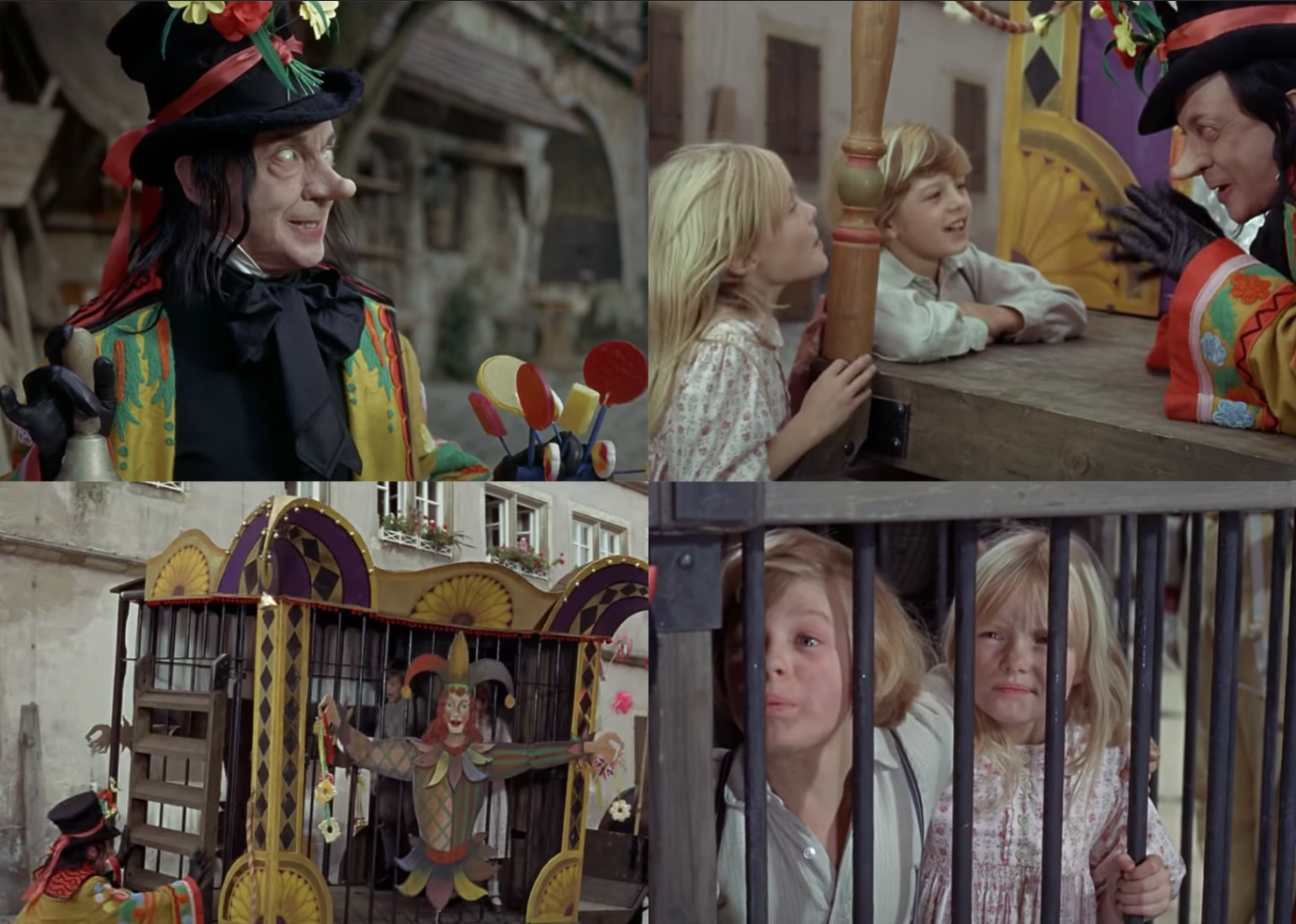 "Adrian Hall as Jeremy Potts, Heather Ripley as Jemima Potts, and Robert Helpmann as the Child Catcher in the movie ""Chitty Chitty Bang Bang."""