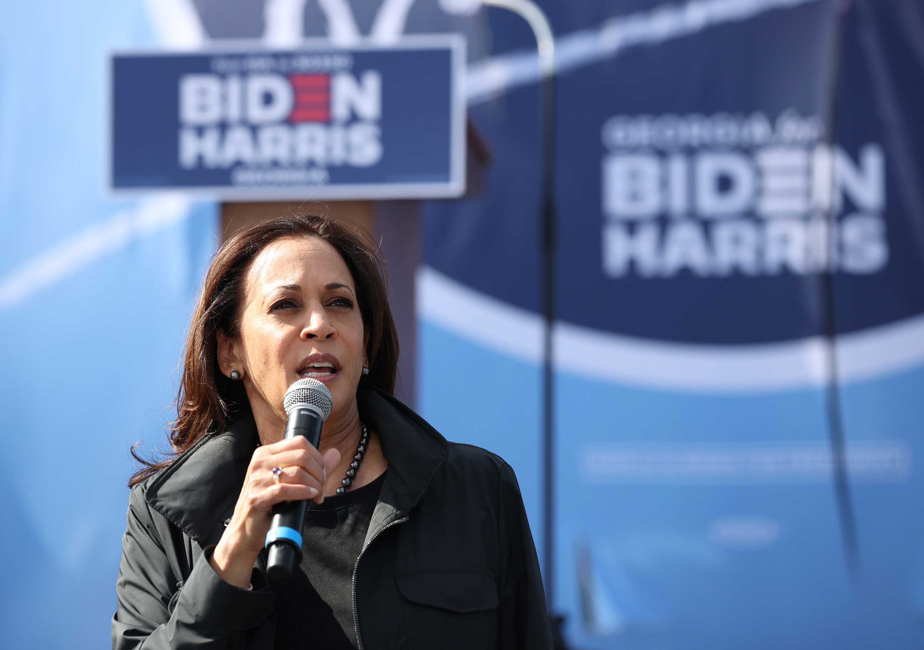 Kamala Harris speaking at a presidential campaign event