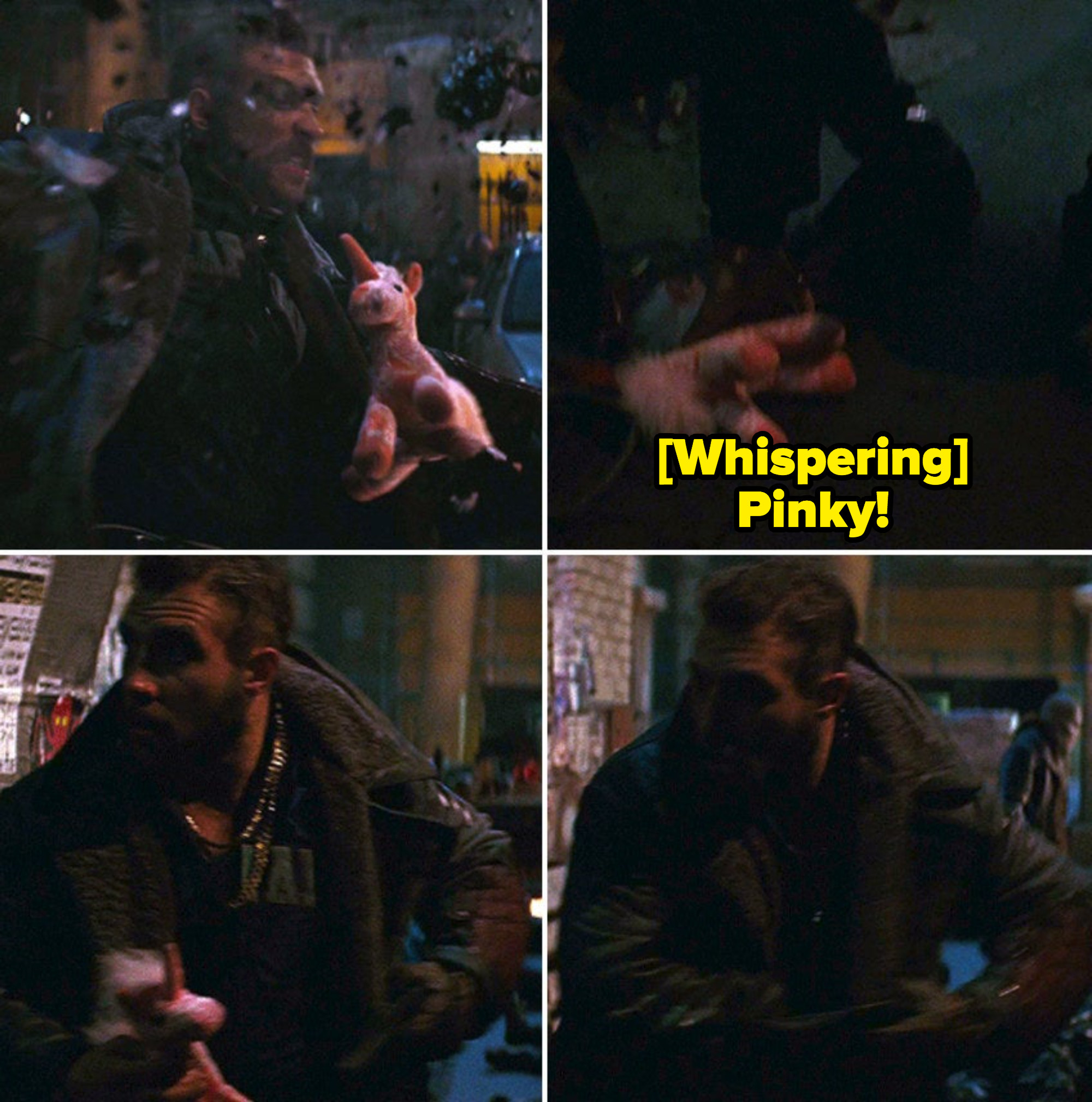 Captain Boomerang dropping his stuffed animal, Pinky, after punching someone in a street fight