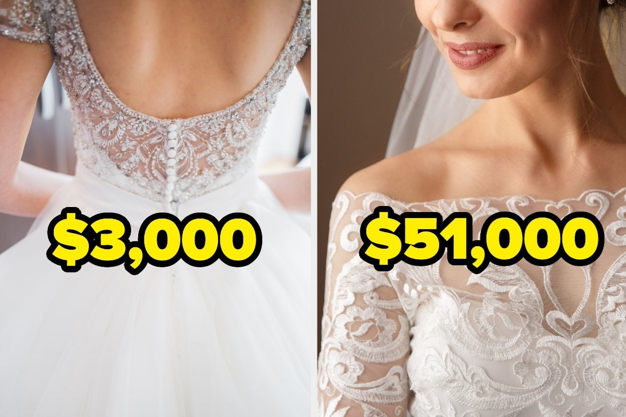 Two wedding dresses side by side, one is $3,000 and the other is $51,000