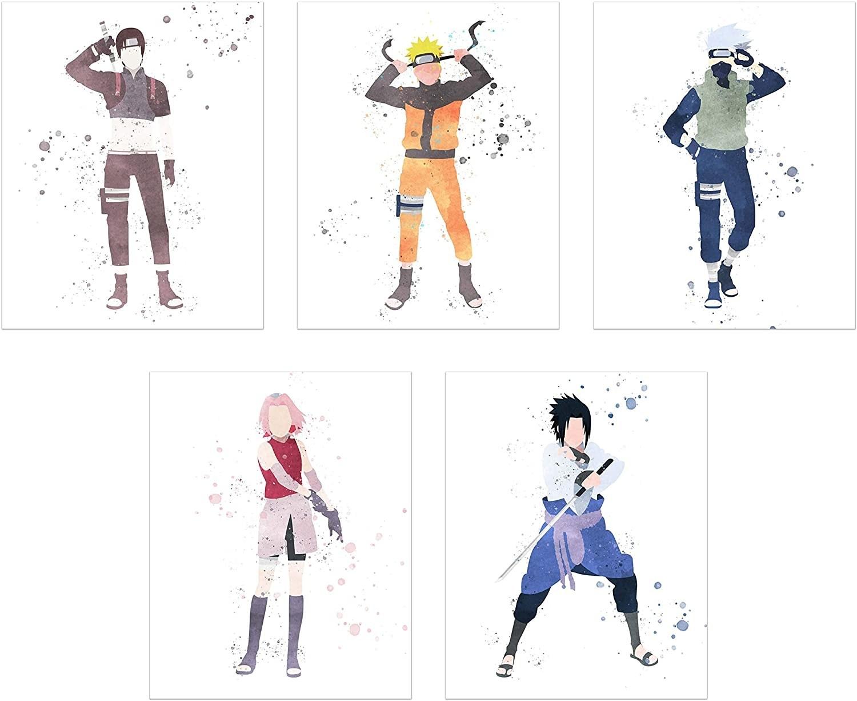The watercolor prints of Naruto, Kakashi, Sakura, Sasuke, and Sai