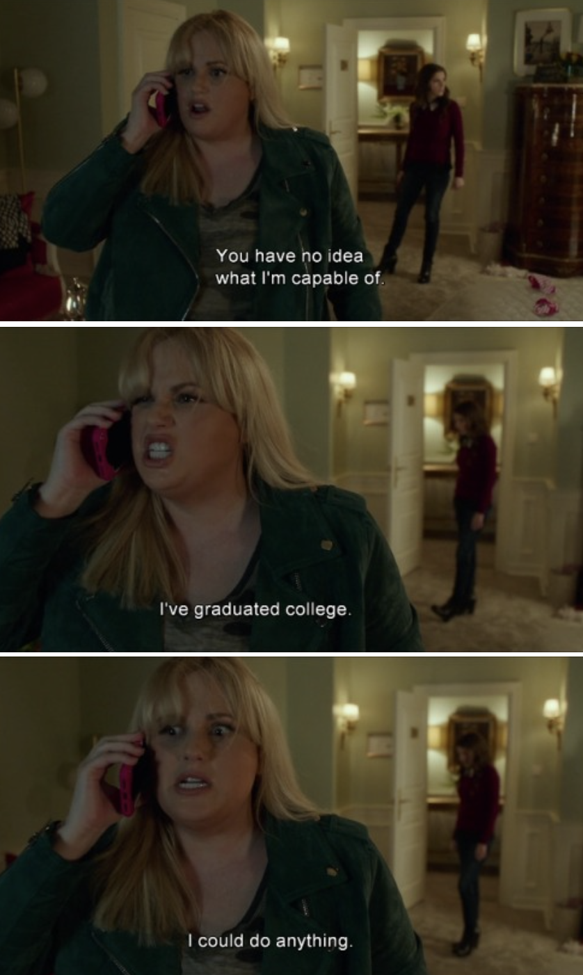 Fat Amy threatening someone on the phone in her hotel room