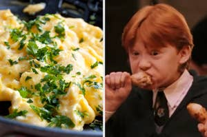 Split Image; Scrambled eggs on the left and ron eating a turkey leg on the right