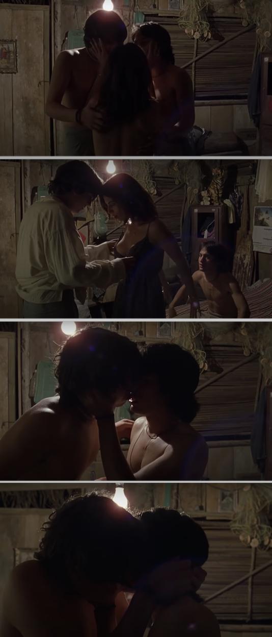 """Maribel Verdú, Gael García Bernal, and Diego Luna having a threesome in """"Y tu mamá también"""""""