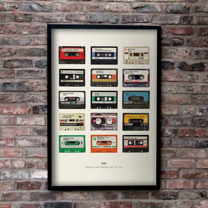 Print with 15 record tapes in different colors personalized with name at the bottom and the words, songs that remind me of you