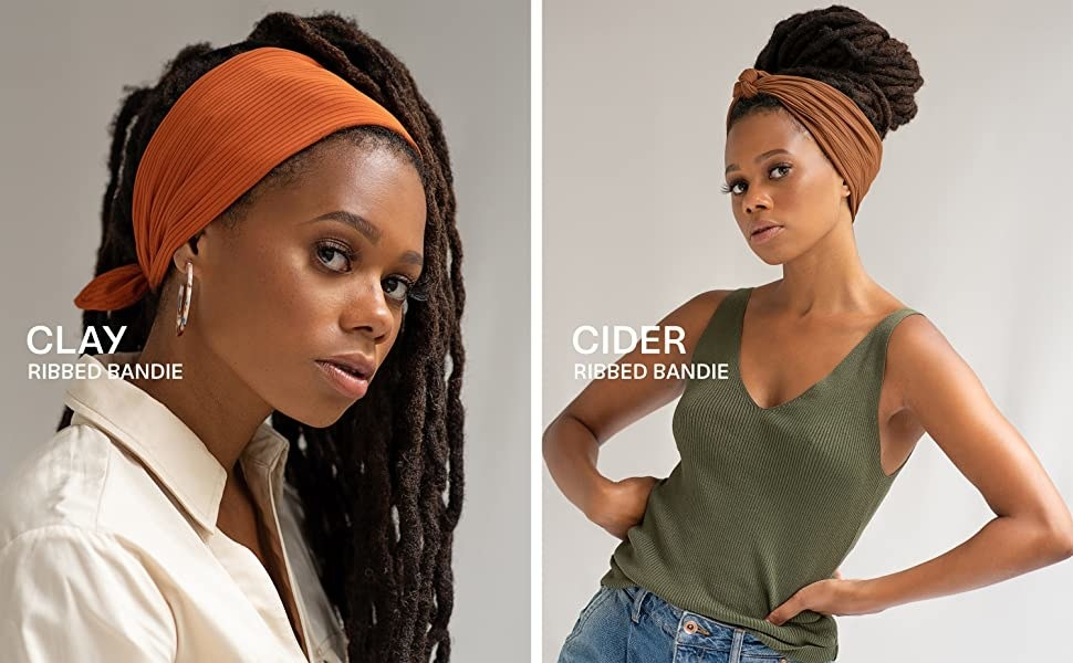 Two models wearing different color hair wraps and styled in different ways