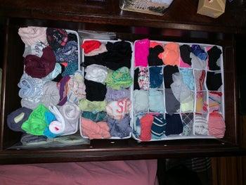Reviewer's organized bras and underwear in the light gray drawer divider in their dresser
