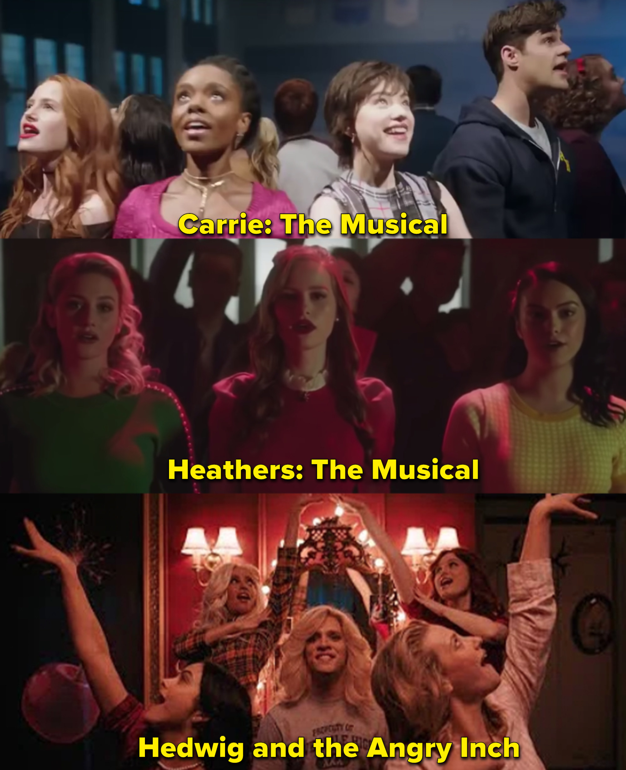 "The cast of Riverdale performing their three musical episodes, ""Carrie The Musical, Heather the Musical, and Hedwig and the Angry Inch."""