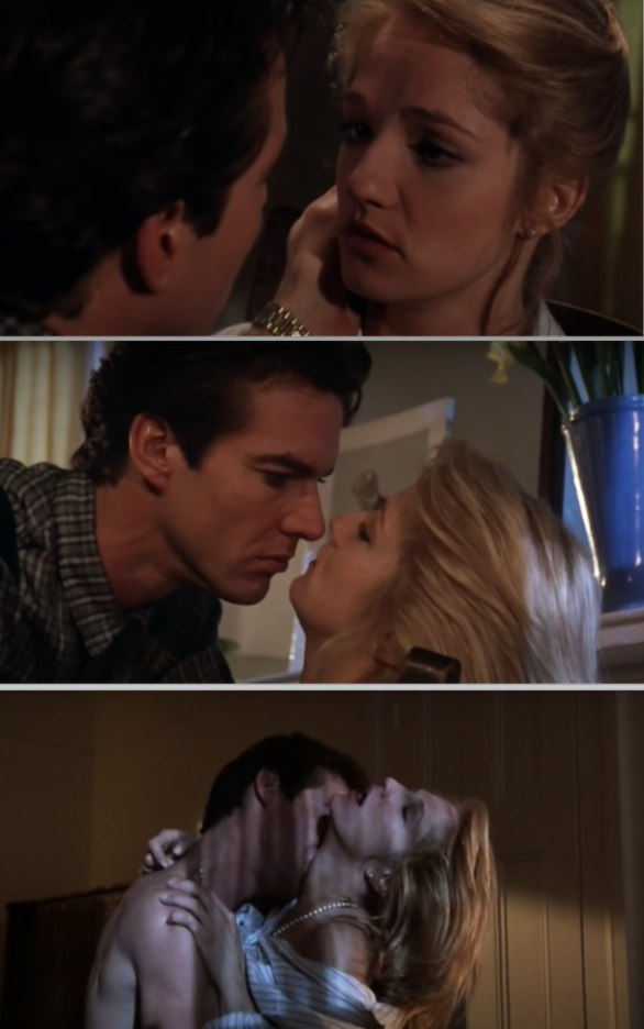 "Dennis Quaid and Ellen Barkin making out in ""The Big Easy"""