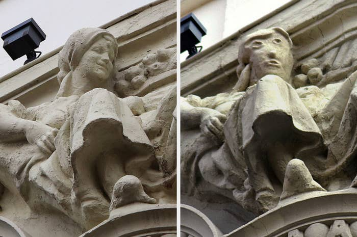 The original sculpture has a woman's realistic smiling face, while the restored sculpture has a cartoon-like face with large, offset eyes and a gaping mouth