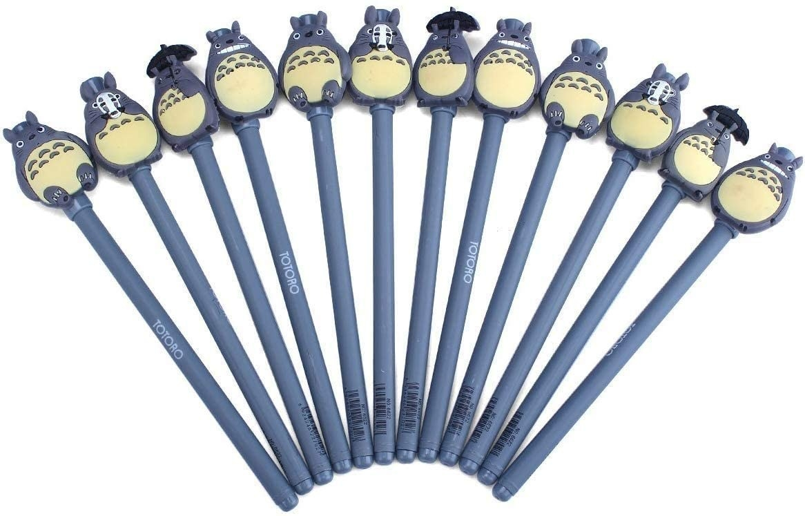 The gray pens topped with Totoros, including some smiling, some holding up a No Face mask, and some holding umbrellas
