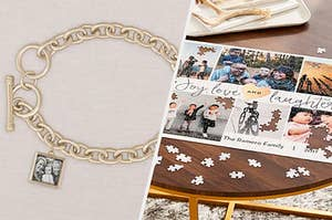 to the left: a charm bracelet, to the right: a photo puzzle