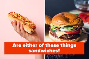 """""""Are either of these things sandwiches?"""" with a photo of a hot dog and a burger"""