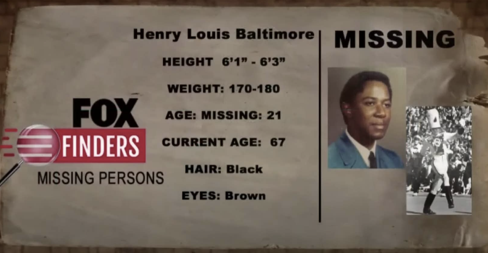 """a """"Fox Finders"""" Missing Persons one-sheet with Henry's name, photo, and information"""