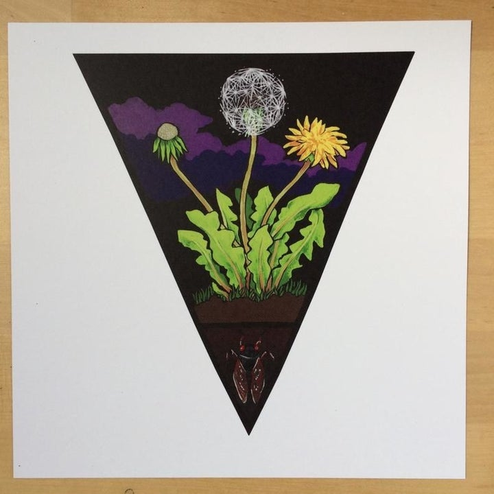 a triangle-shaped print featuring layers of earth with an insect, dandelion flower, and dark sky