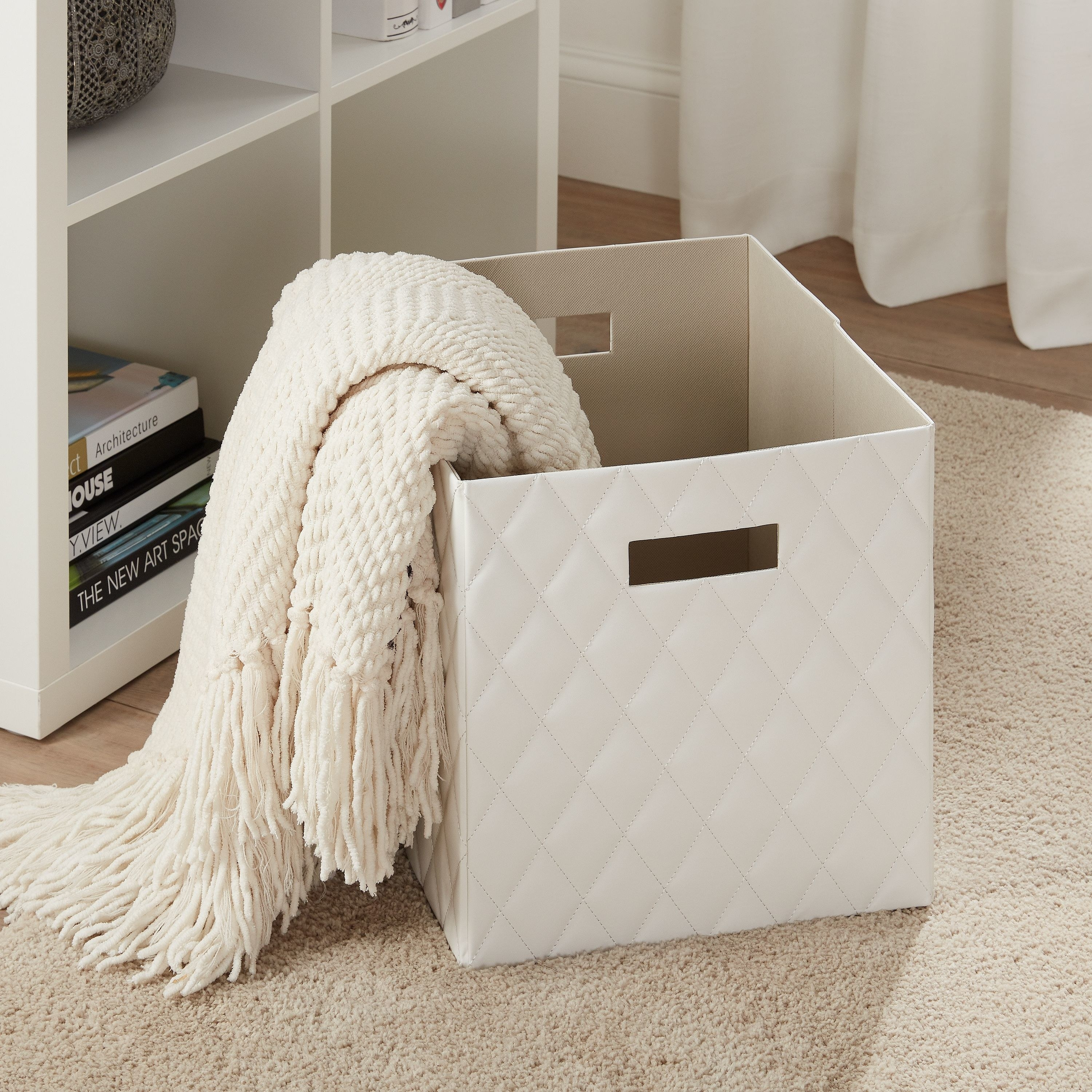White quilted faux-leather storage bins