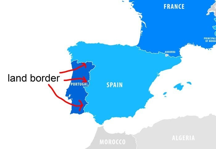 A map of Portugal and Spain highlighting the land border between them