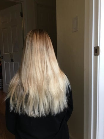 Reviewer's straight blonde hair