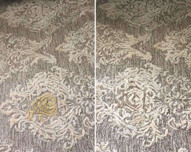 Reviewer's before and after of carpet stained and then clean