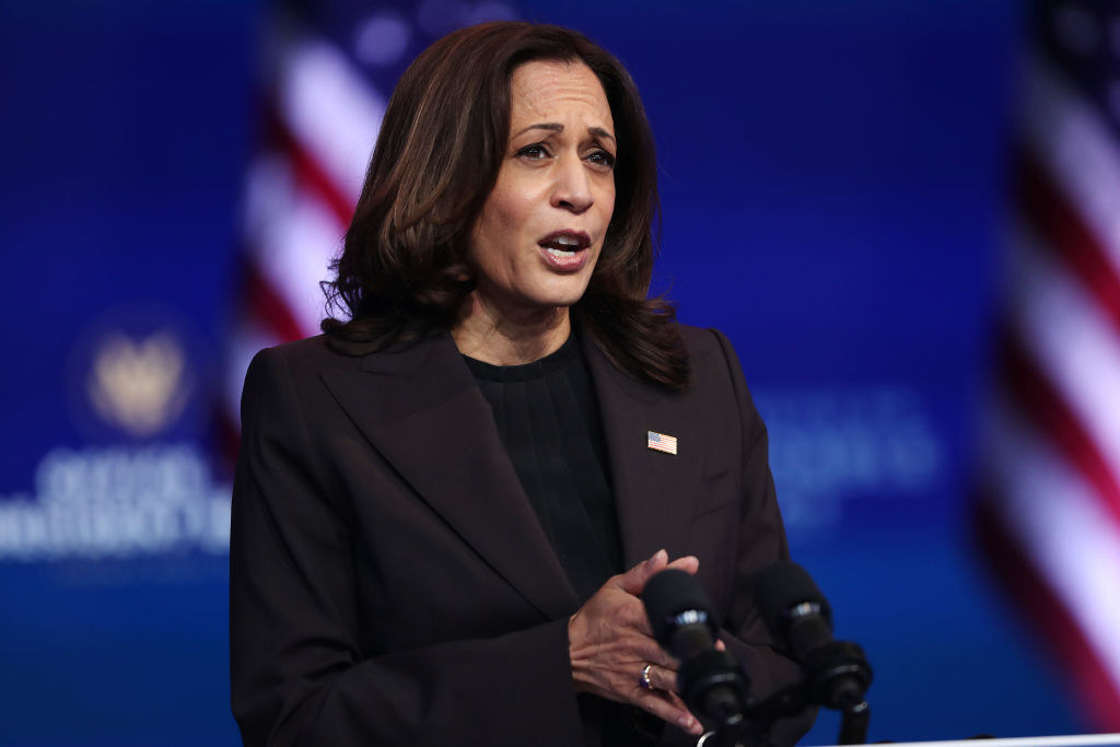 Harris speaking at an event