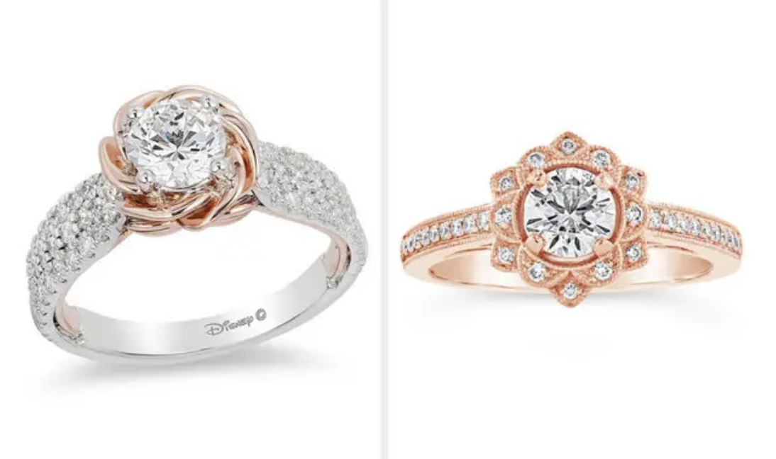 A side-by-side of two engagement rings, one from Disney that's lined with diamonds and has a rose gold rose design, the other from Zales with a flower design embedded with diamonds