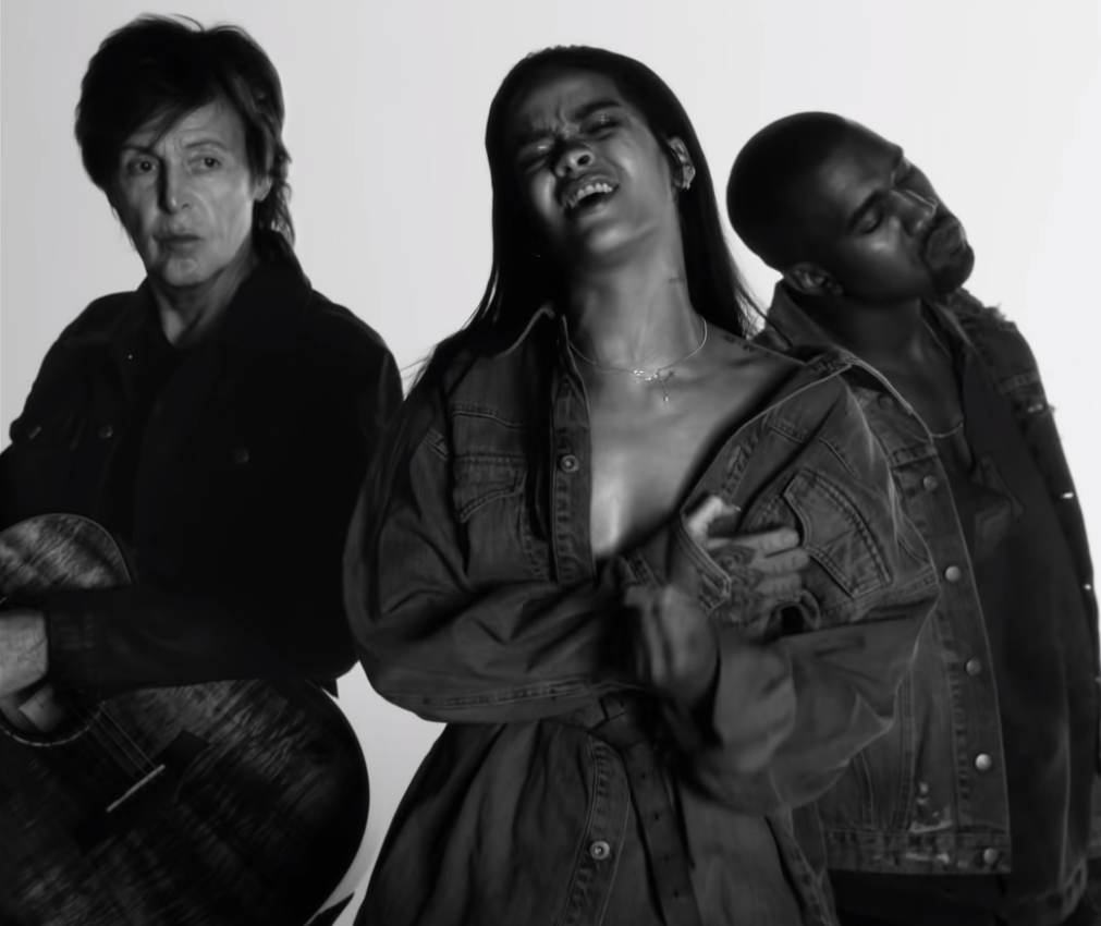 The black and white music video for the song featuring McCartney on guitar, and Rihanna and Kanye singing