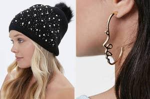 戴着针织豆豆和戴着面部耳环的模型的模型的分裂缩略图