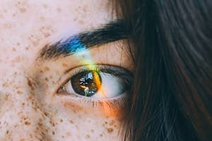 An eye with a prism over it