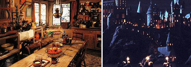 (left) a cozy shot of the Burrow's dining table topped with bread and dishes; (right) A night shot of Hogwarts with boats sailing towards it