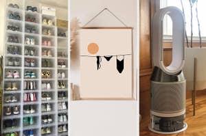 drop front clear shoe boxes, a clothesline art print, a Dyson air purifier