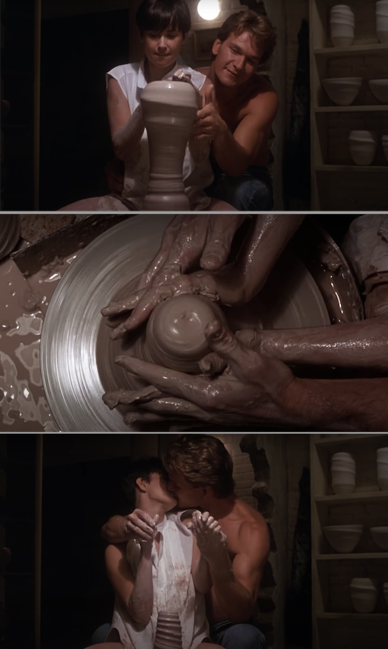 "Patrick Swayze and Demi Moore kissing while making pottery in ""Ghost"""