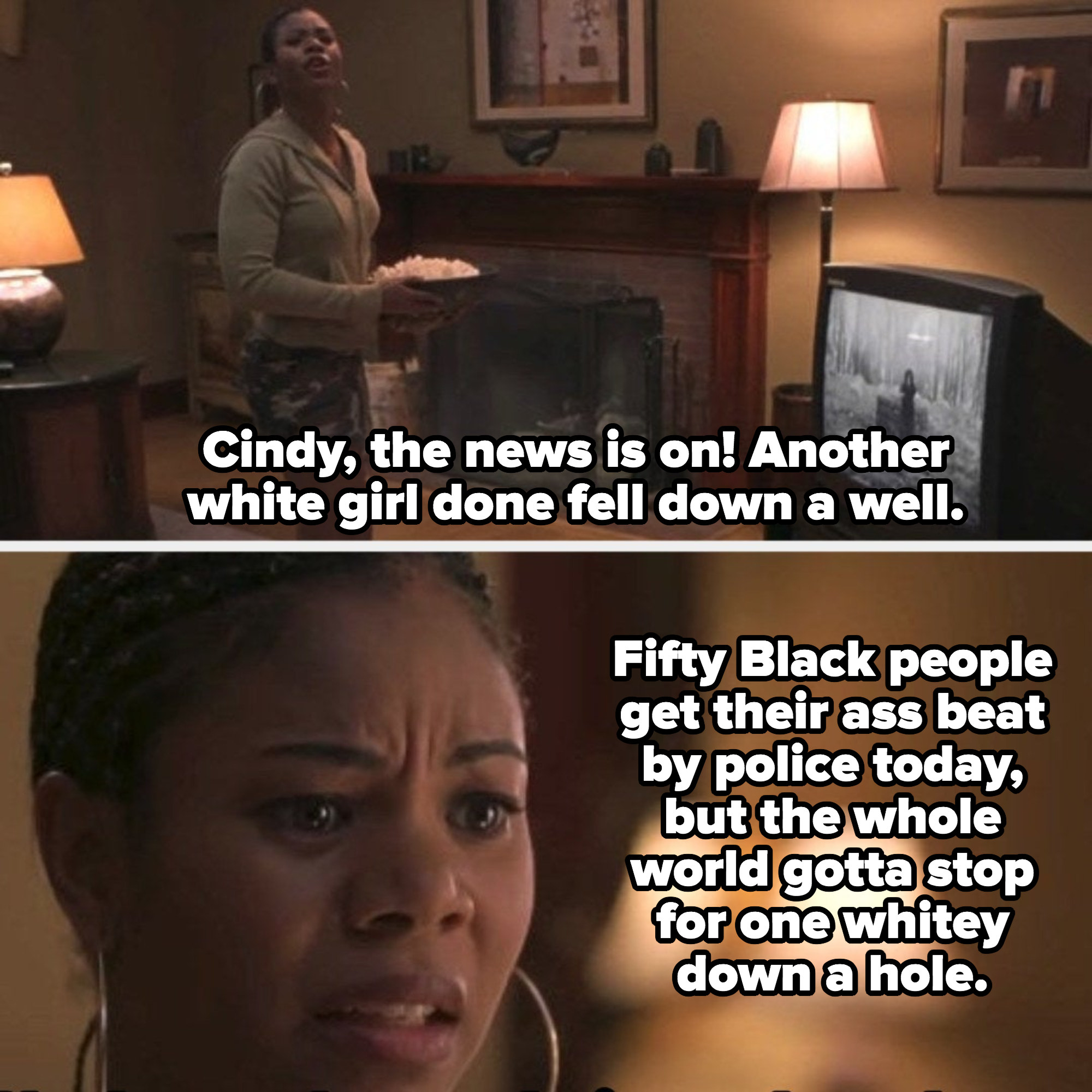 Brenda calling for Cindy while watching the news on TV about white girls falling down a well