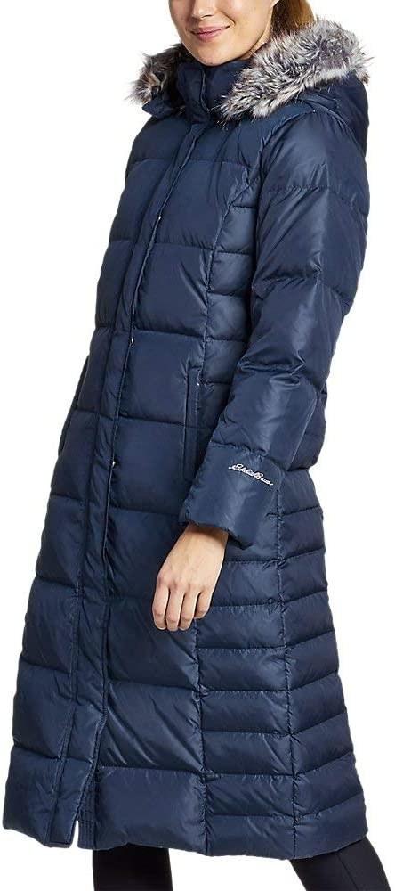 a model wears the cadet blue eddie bauer long down duffle coat