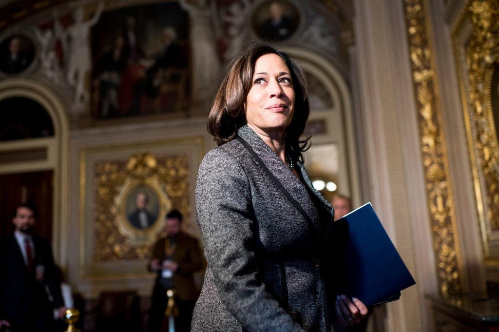 Harris walking through the Senate Reception room