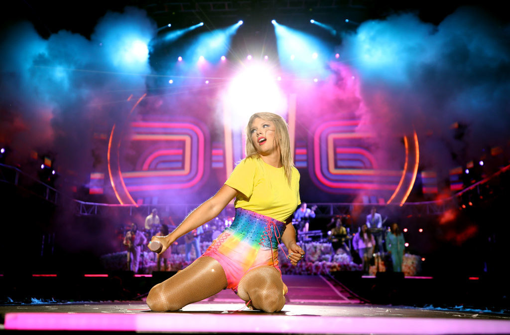 Taylor performing on stage