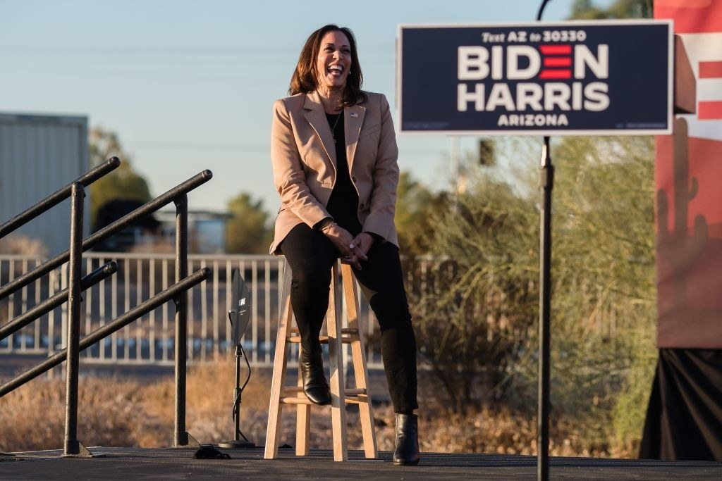 Harris laughing at a campaign event