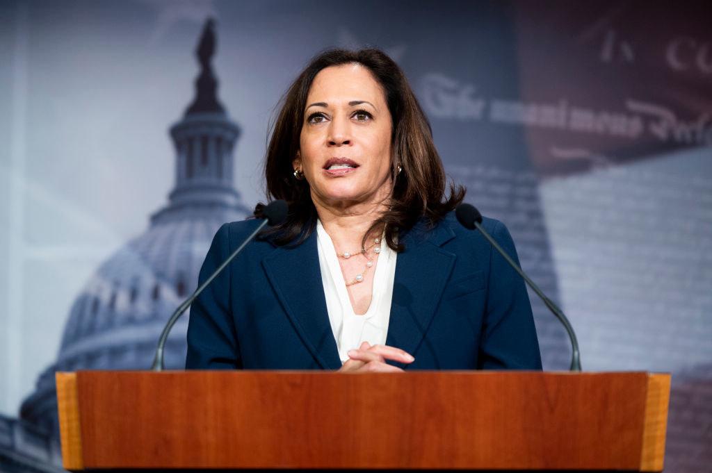 Harris at a Senate Democrats press conference