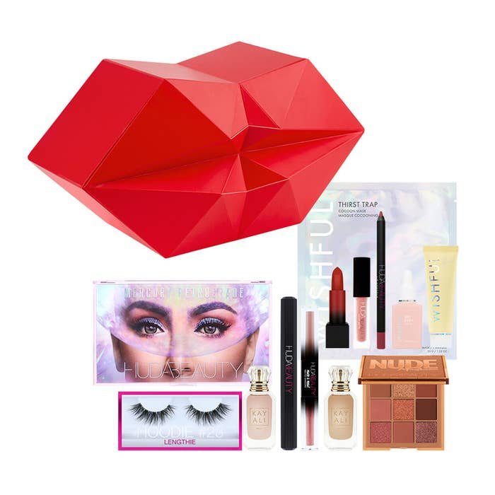 the red abstract lip box and an array of huda beauty products
