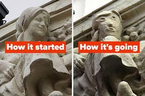 """最初的雕塑的标题是""""它是如何开始的"""",而拙劣的雕塑的标题是""""它是如何开始的"""""""