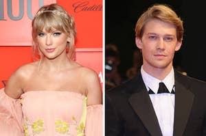 Taylor Swift and Joe Alywn posing separately on the red carpet
