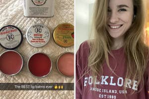 """Two panels, from left to right, showing three open tins of lip balm with the caption """"The BEST lip balms ever"""" with a selfie of a BuzzFeed writer wearing a T-shirt that reads """"Folklore, Rhode Island, USA, EST 1989"""""""