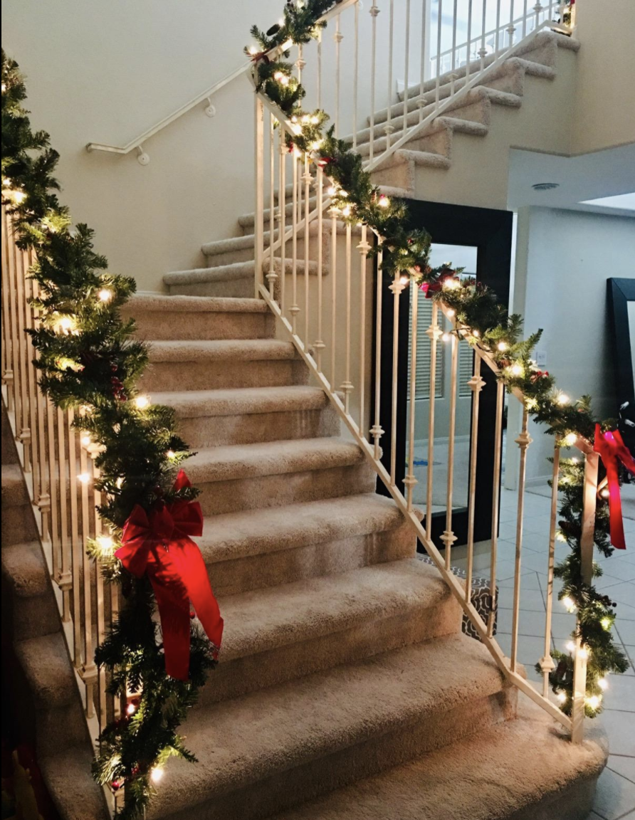Garland on staircase railing