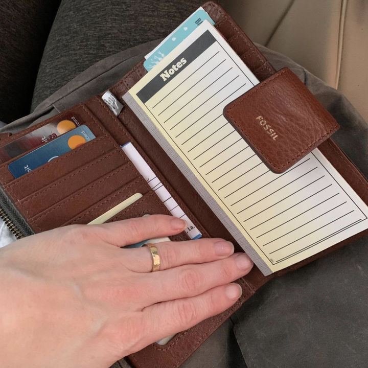 reviewer photo of the wallet with a notepad inside