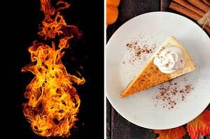 在左边,一个咆哮的火,右边,一片南瓜芝士蛋糕